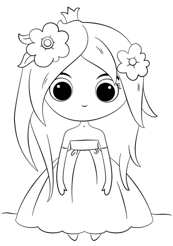 kawaii coloring page doll