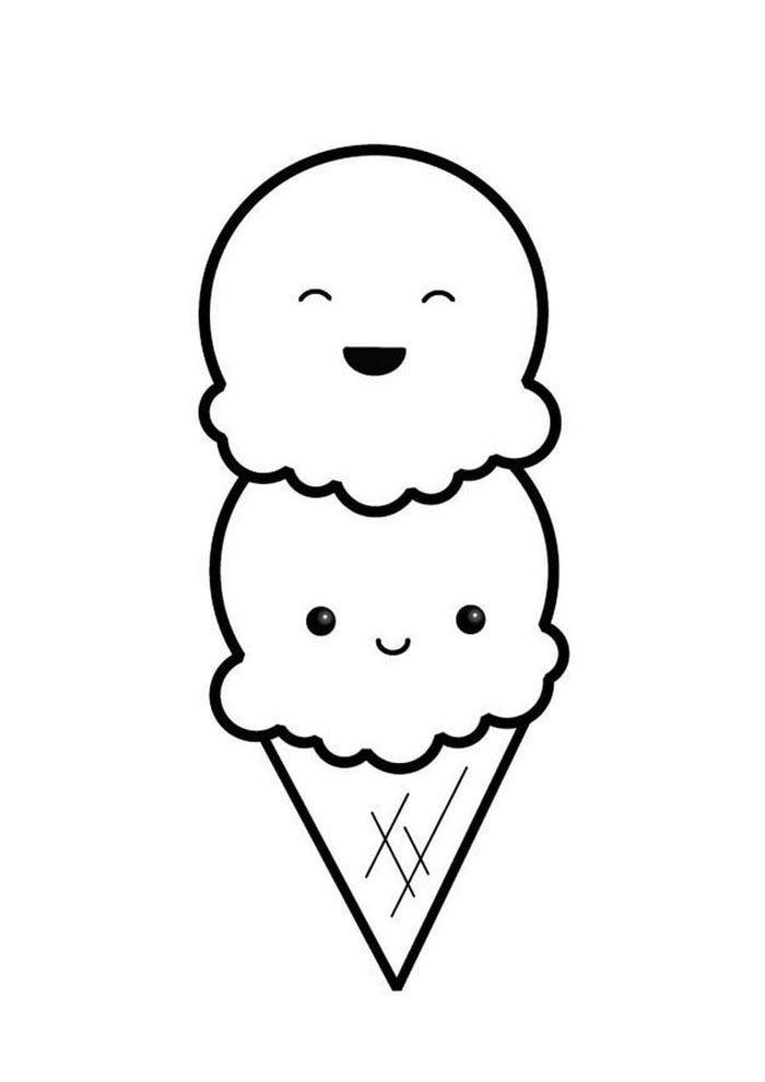 kawaii coloring page double icecream