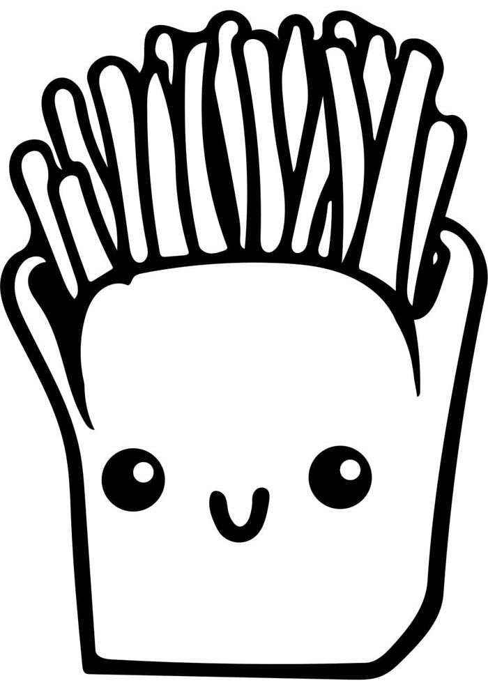 kawaii coloring page french fries
