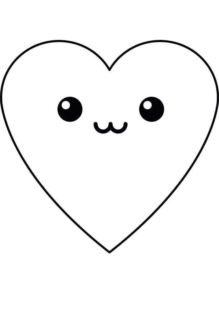 kawaii coloring page heart