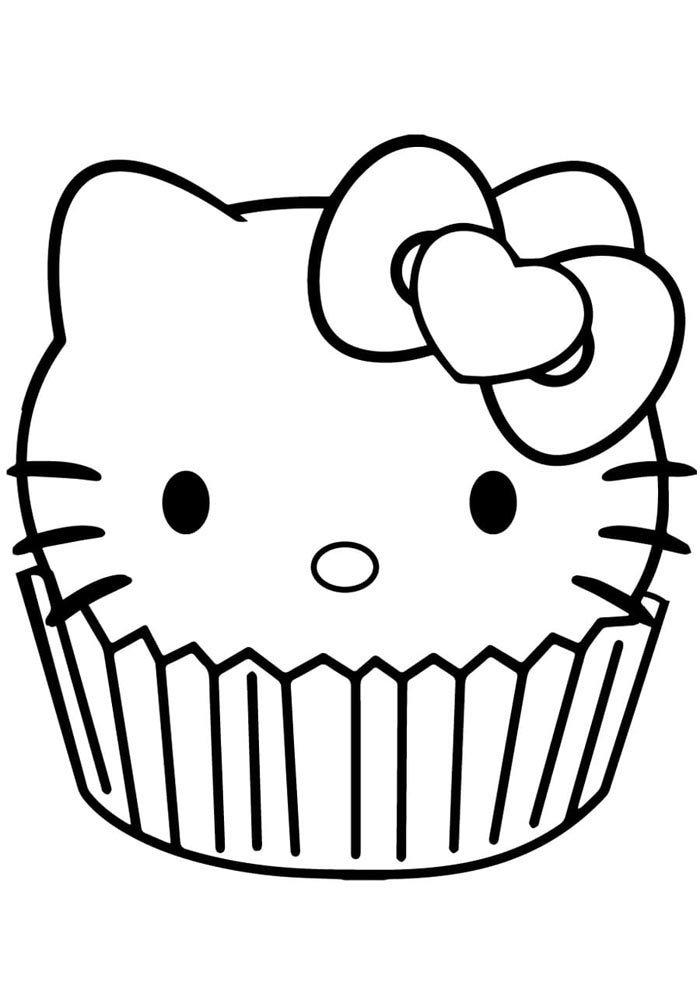 kawaii coloring page hello kit cupcake