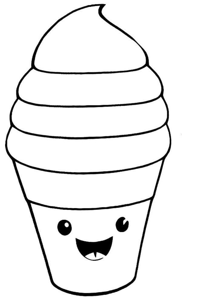 kawaii coloring page icecream