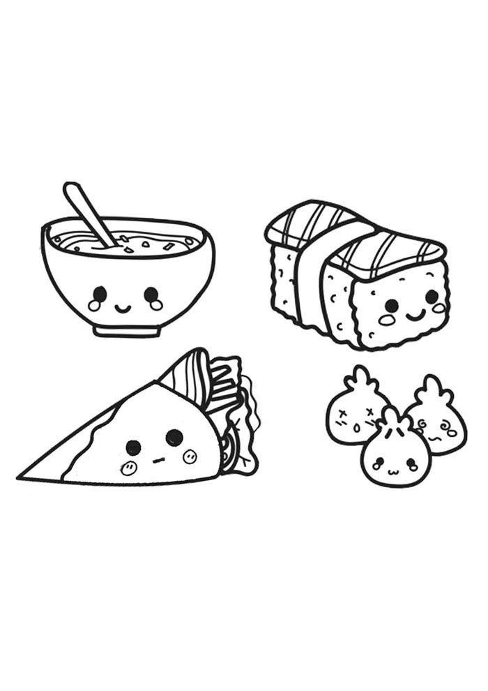 kawaii coloring page japanese food