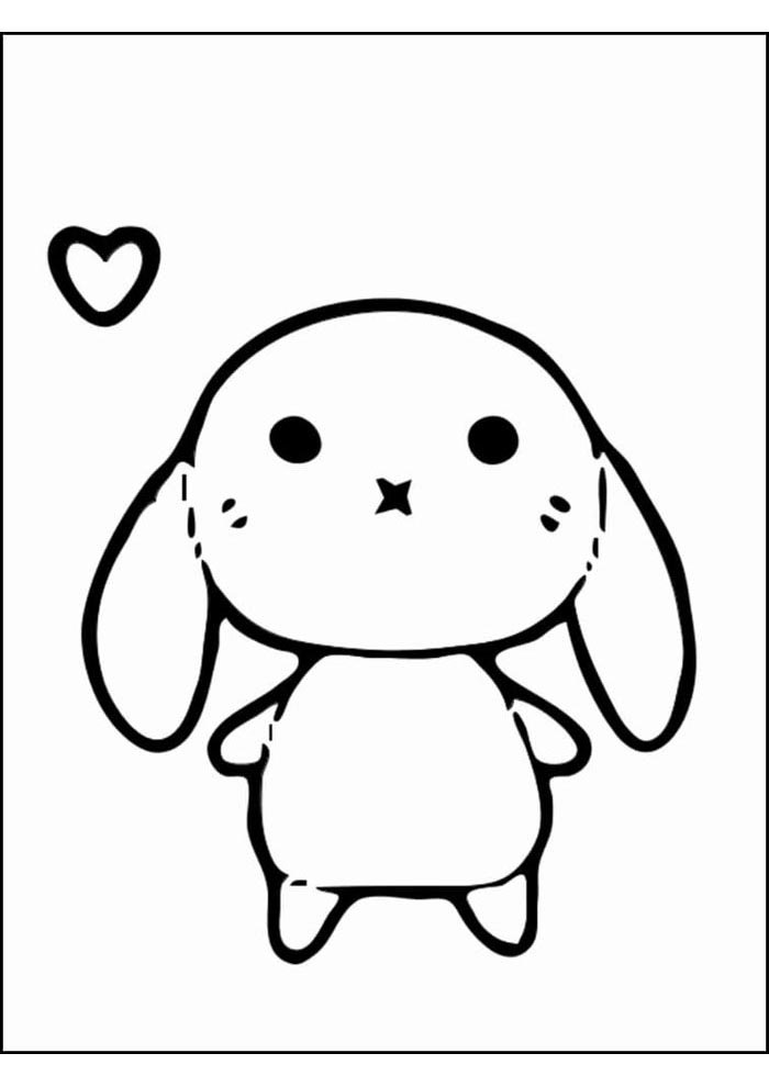 kawaii coloring page little doll