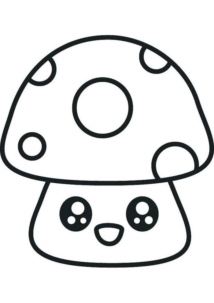 kawaii coloring page mushroom