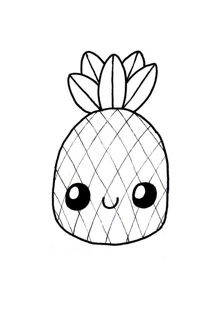 kawaii coloring page pineapple