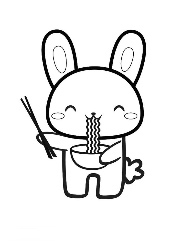 kawaii coloring page rabbit eating