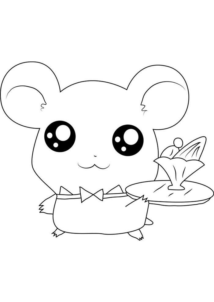 kawaii coloring page rat