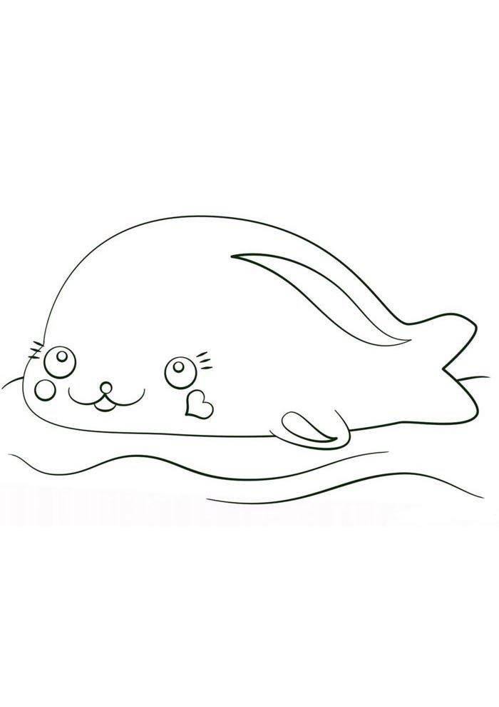 kawaii coloring page sea life