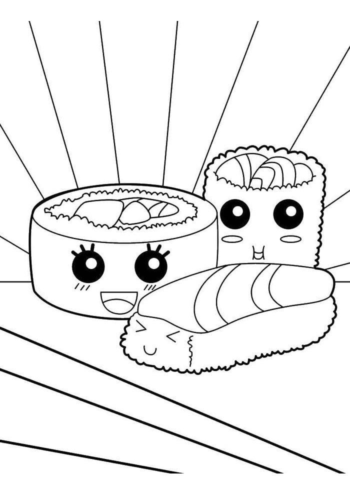 kawaii coloring page sushi