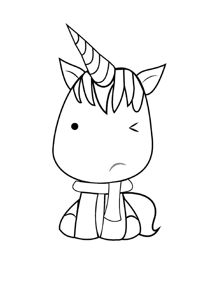 kawaii unicorn coloring page