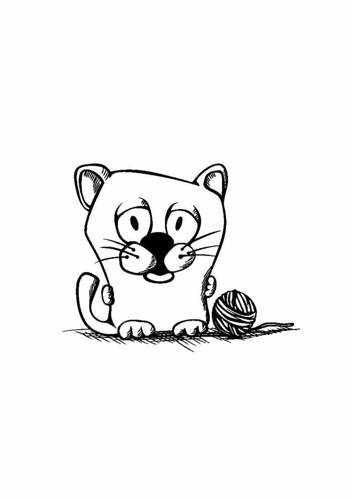 little cat coloring page