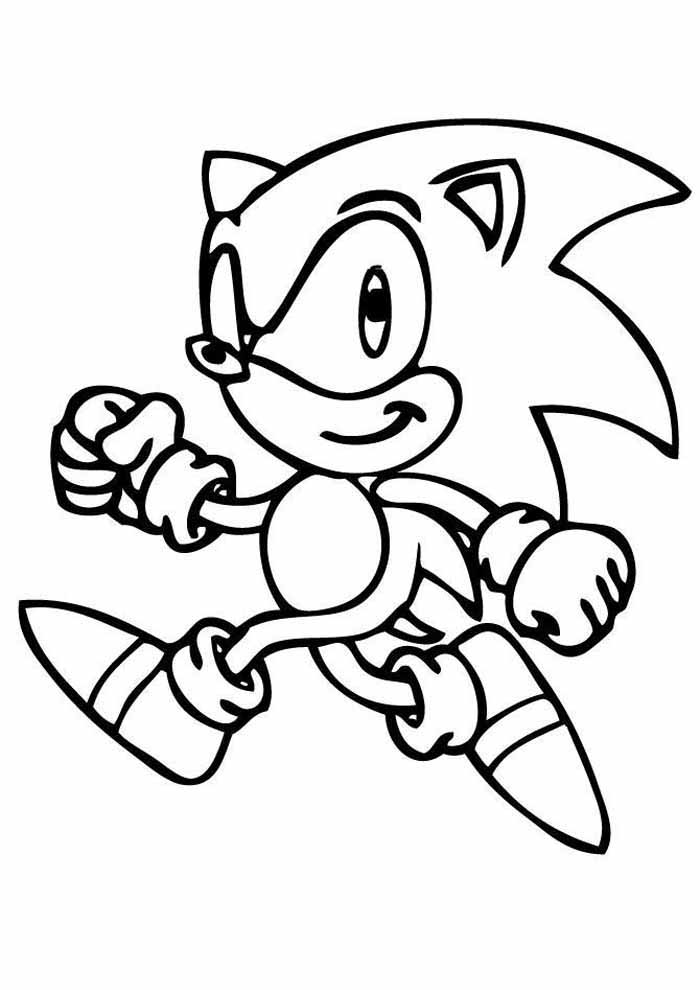 little sonic running coloring page