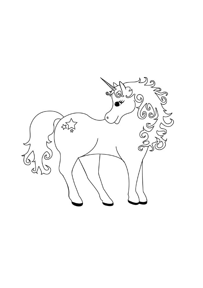 lovely unicorn coloring page