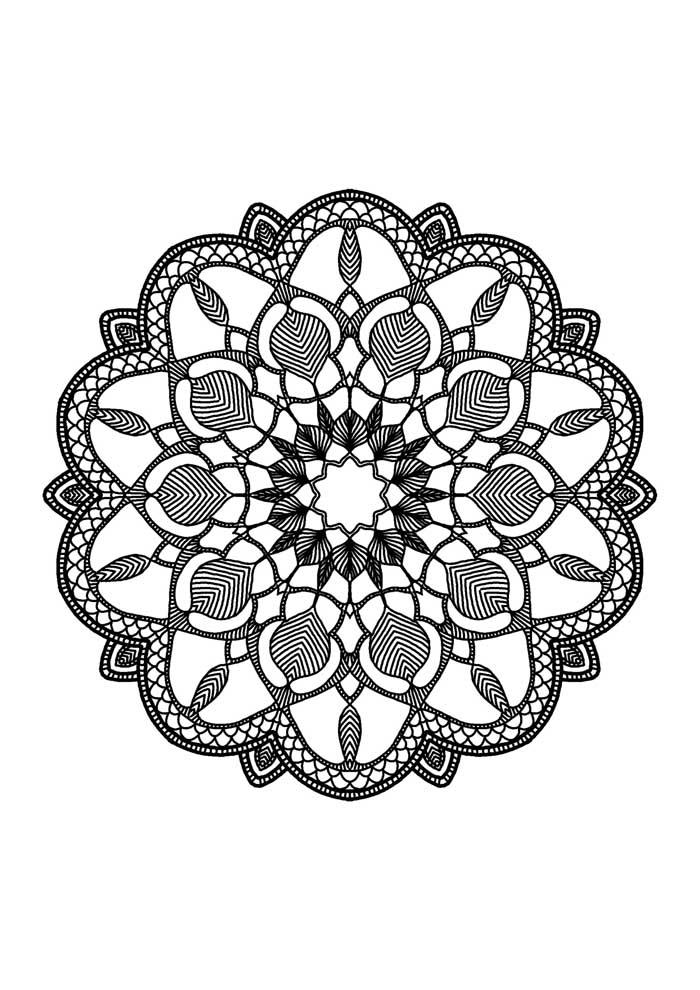 mandala coloring page big petals