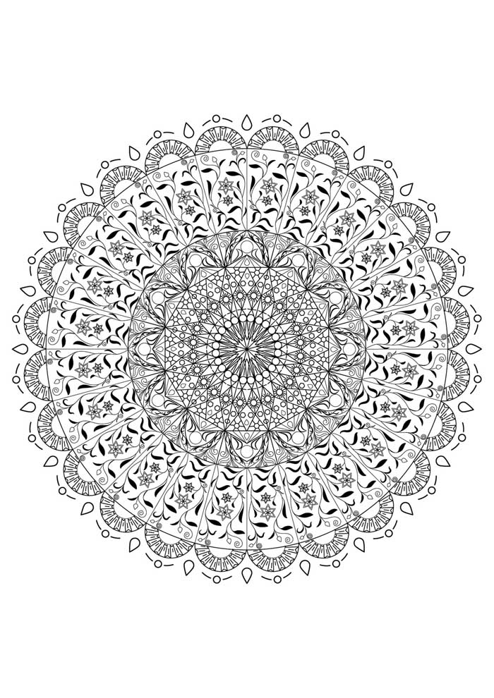 mandala coloring page detailed difficult