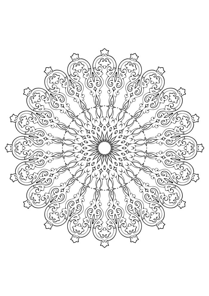 mandala coloring page difficult very detailed