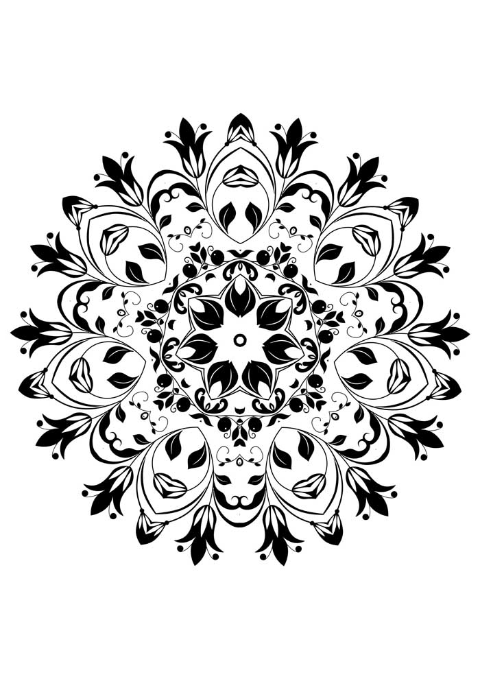 mandala coloring page flowers detailed