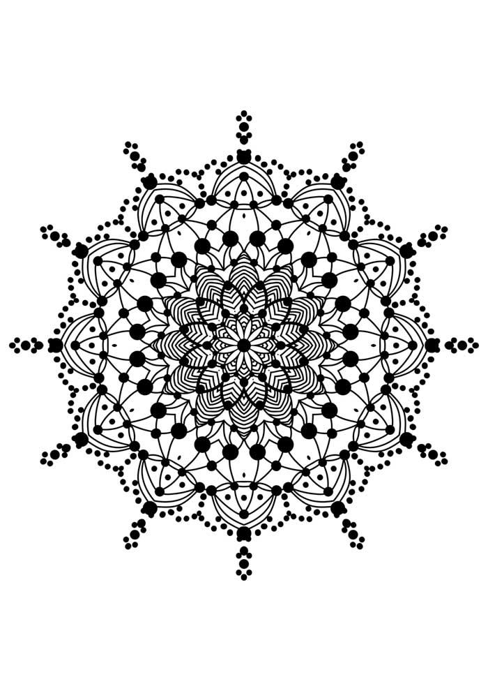 mandala coloring page stars and dots