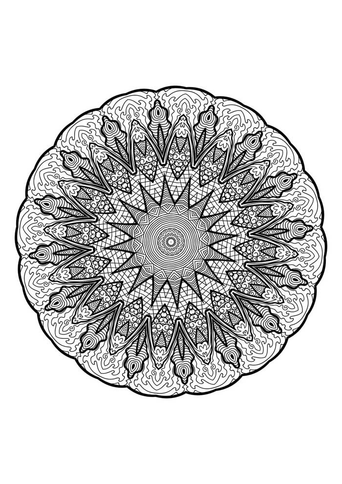 mandala coloring page with edge