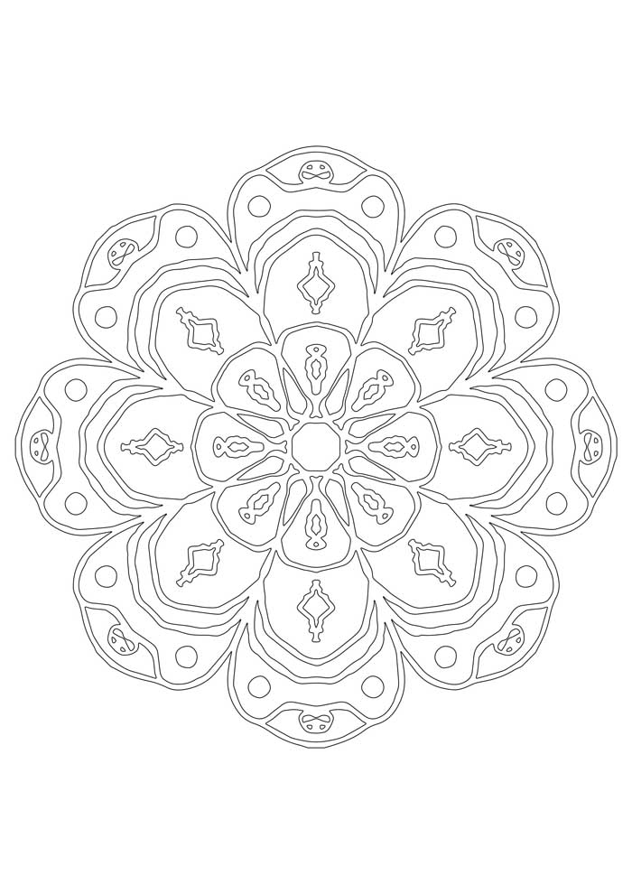 mandala coloring page with flowers and heart