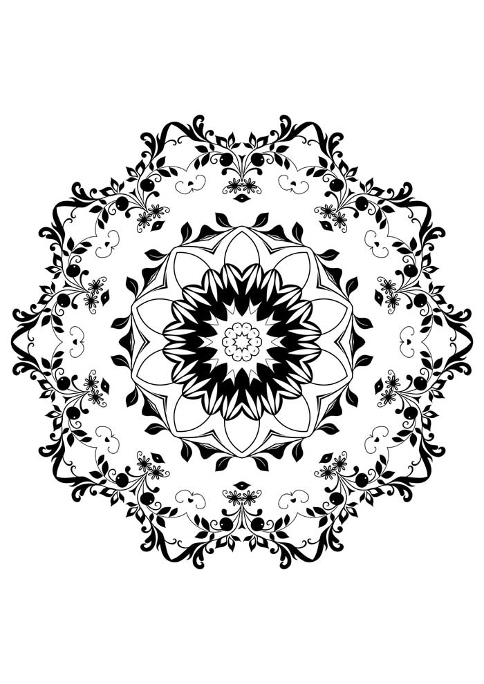 mandala coloring page with flowers