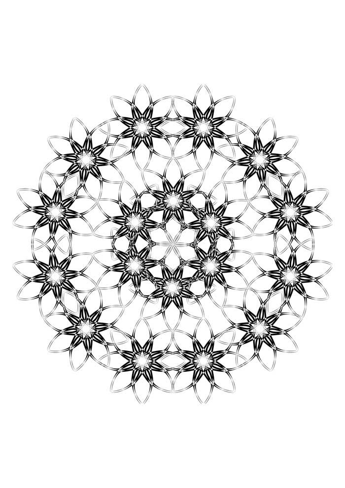 mandala coloring page with stars