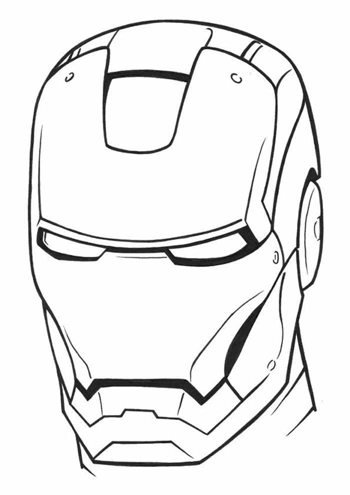 mask iron man coloring page