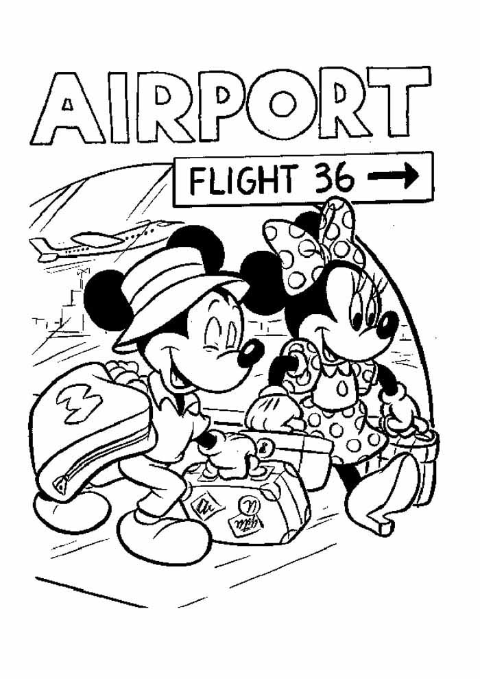 mickey and minnie mouse coloring page travelling