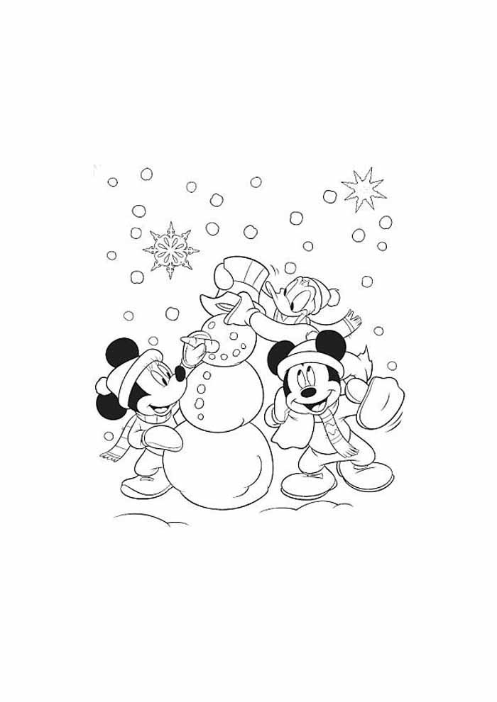 minnie mouse coloring page and snowman