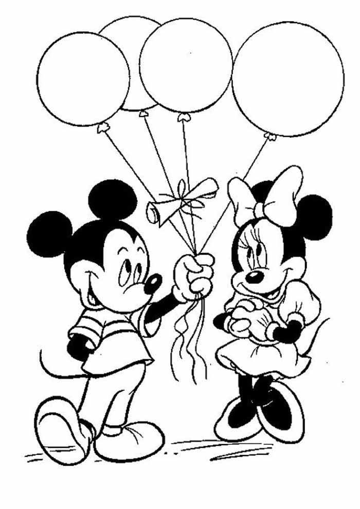 minnie mouse coloring page ballons