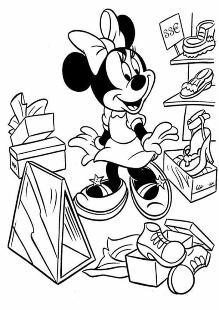 minnie mouse coloring page shoes store