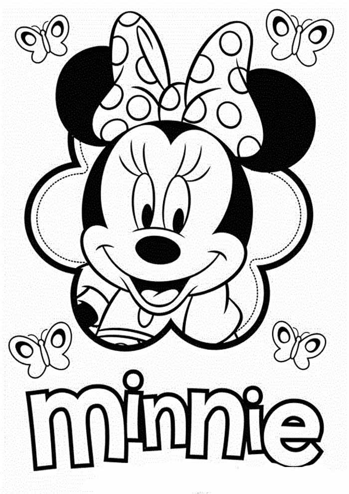 minnie mouse coloring pages with butterflies