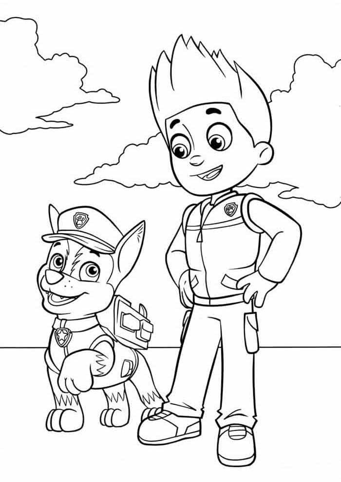 paw patrol coloring page Ryder and chase