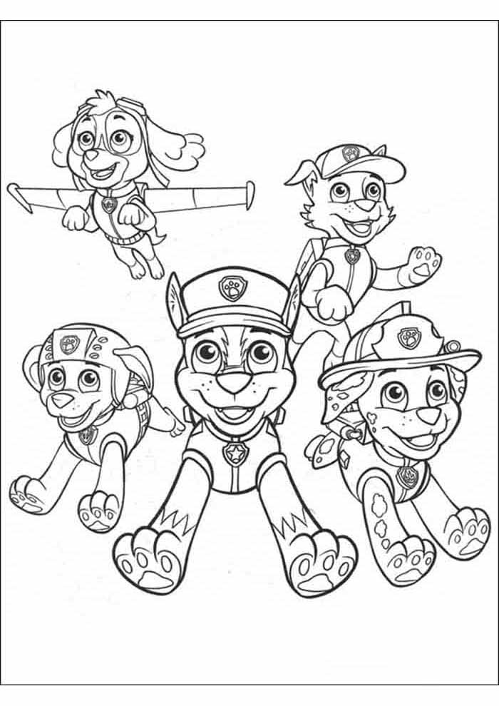 paw patrol coloring page all flying