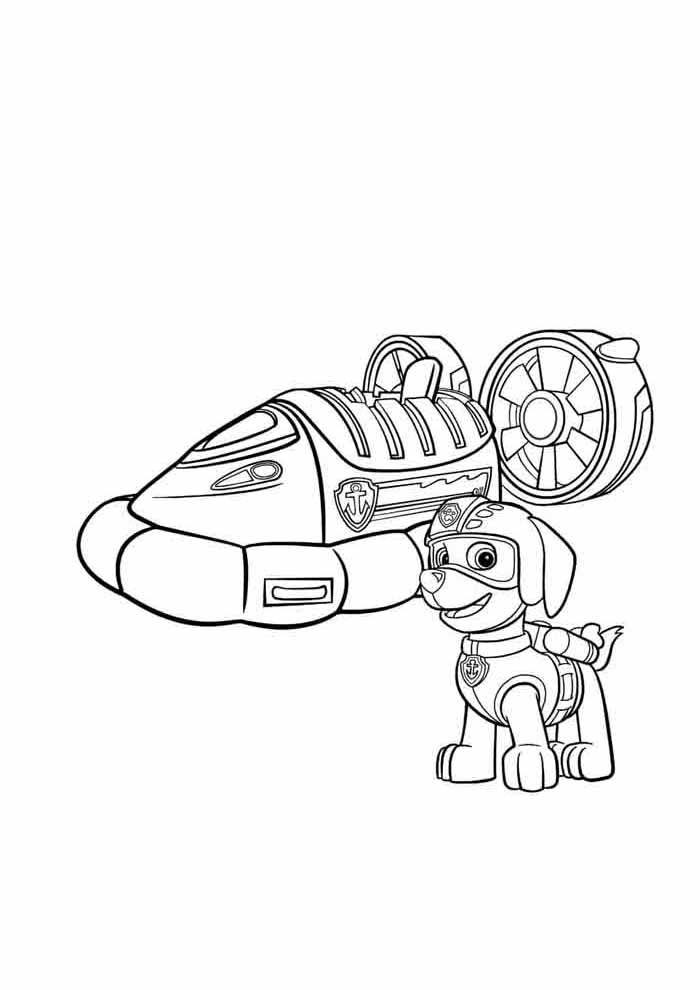 paw patrol coloring page car