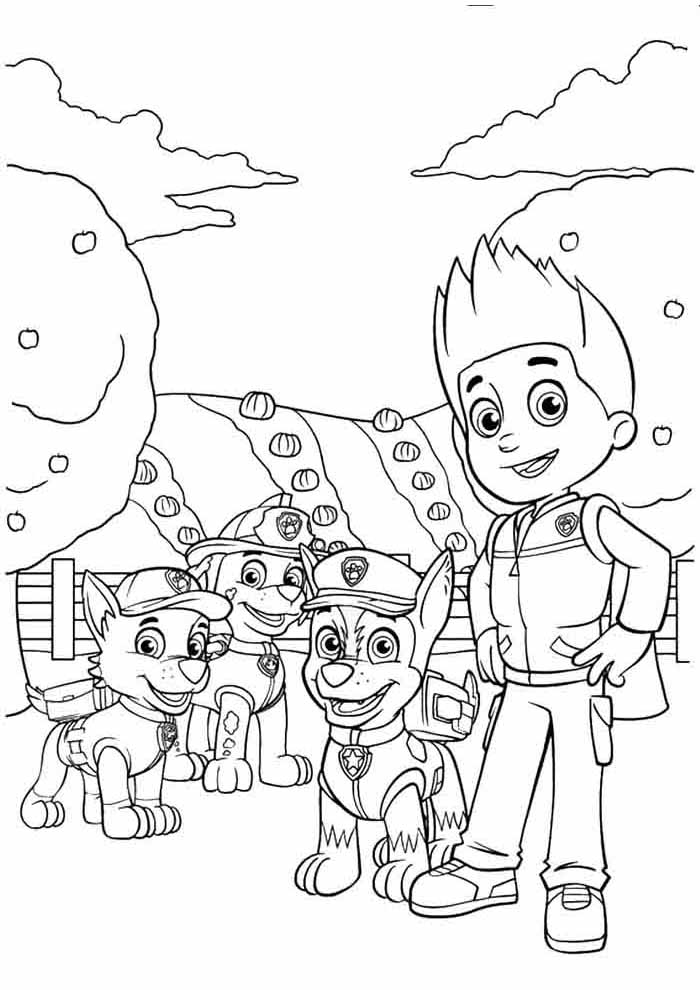 paw patrol coloring page characters