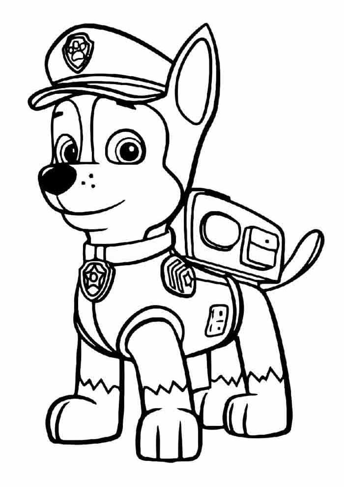 paw patrol coloring page chase alone