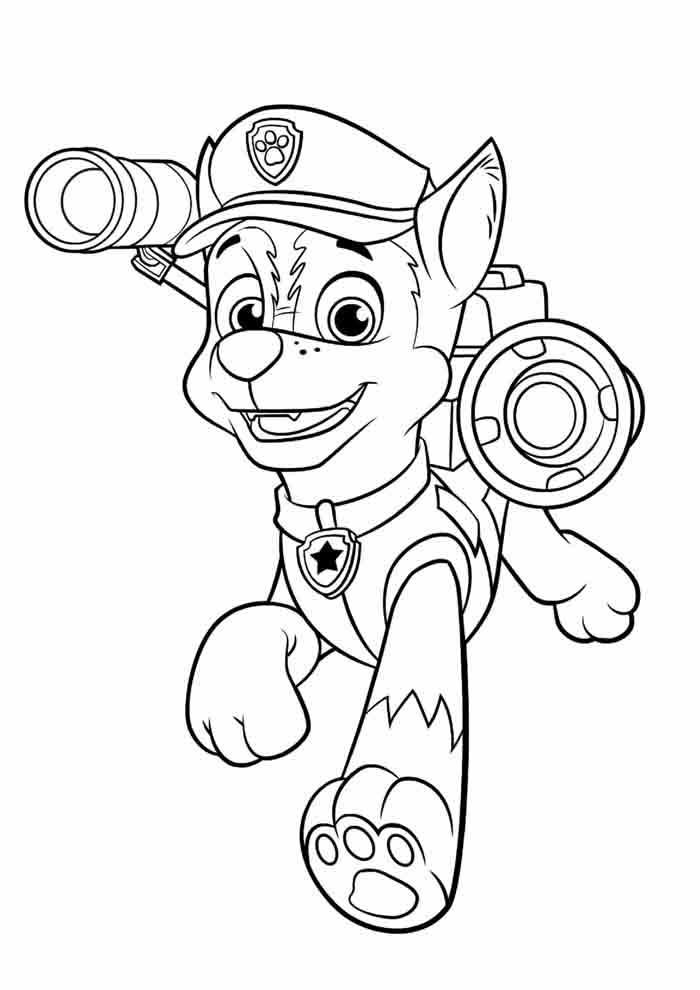 paw patrol coloring page chase walking
