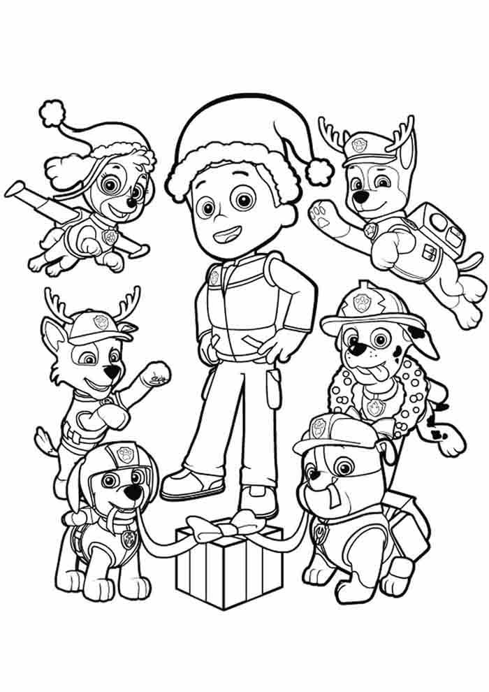paw patrol coloring page christmas