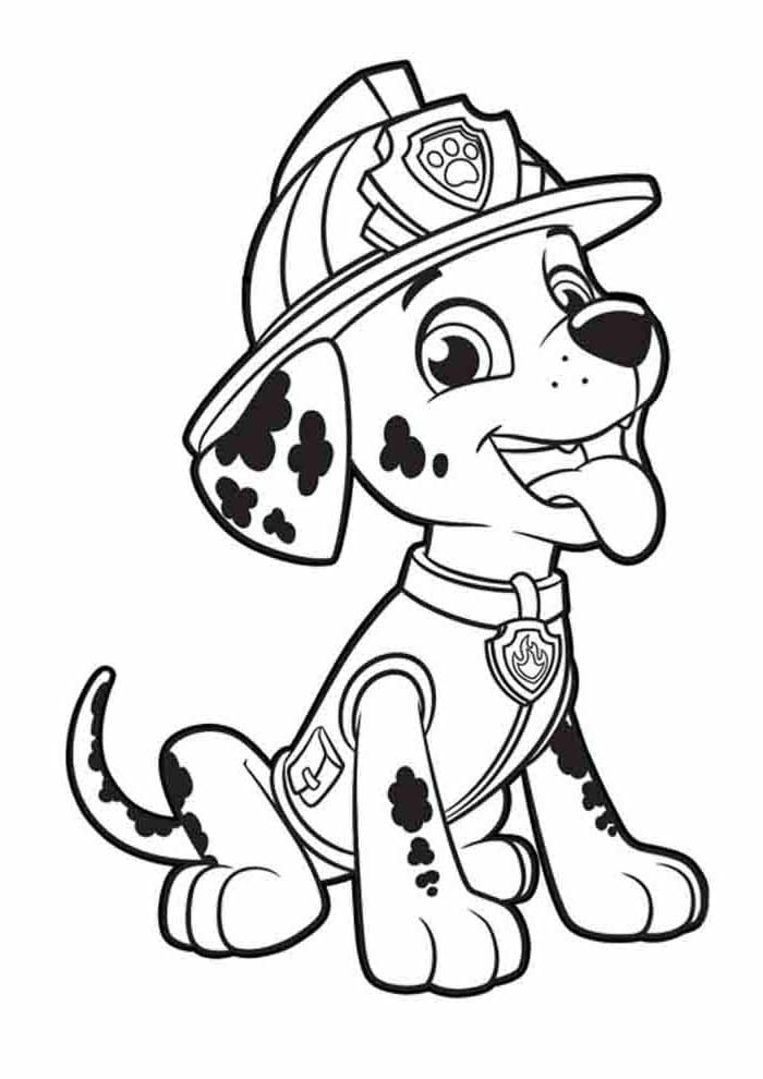 paw patrol coloring page marshall showing his tongue