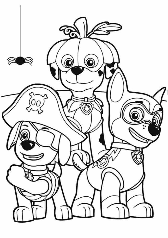 paw patrol coloring page masked