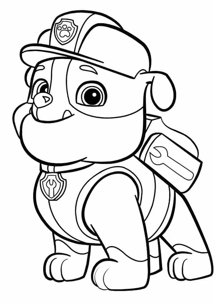 paw patrol coloring page rubble alone
