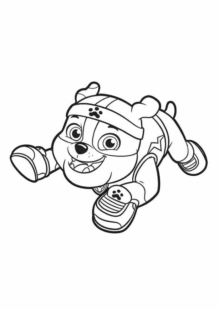 paw patrol coloring page rubble jumping