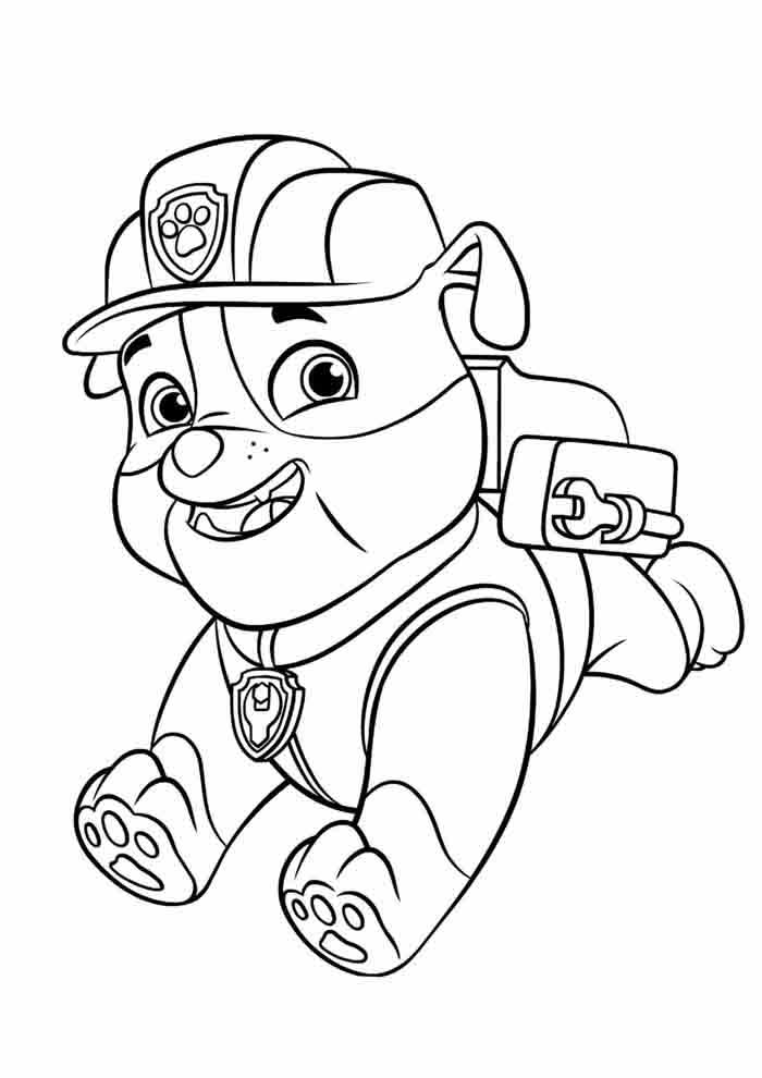 paw patrol coloring page rubble running