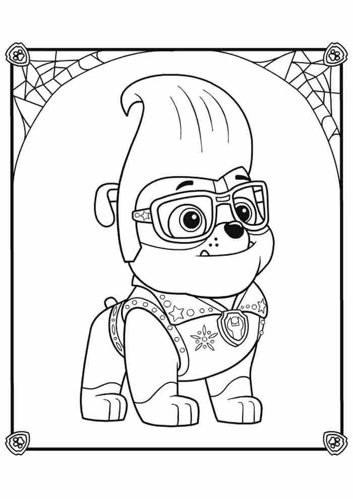 paw patrol coloring page rubble with a poupadour
