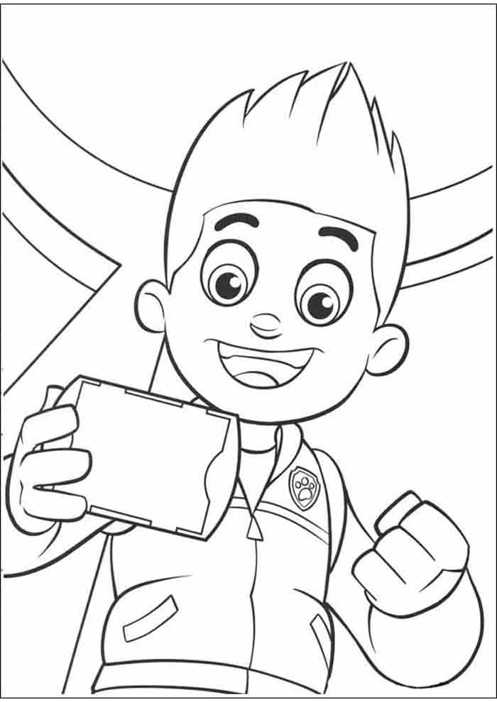 paw patrol coloring page ryder using cell phone