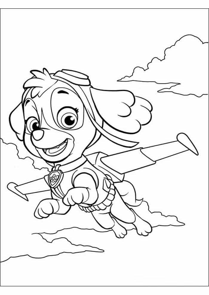 paw patrol coloring page skye flying