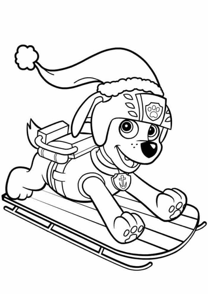 paw patrol coloring page zuma christmas