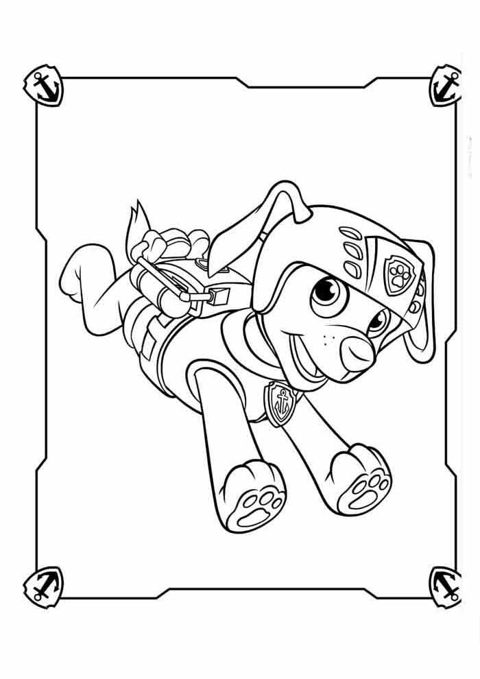 paw patrol coloring page zuma jumping